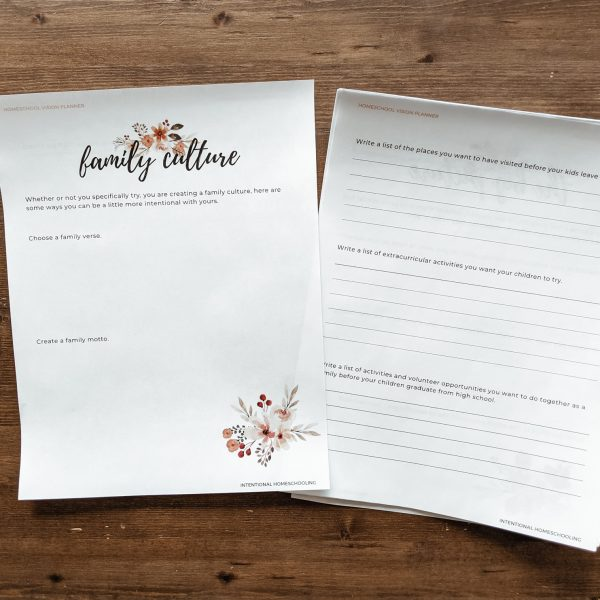 Printable Homeschool Vision Planner - plan out the vision for your children and homeschool year